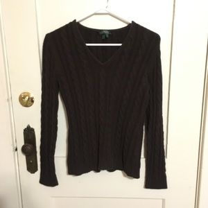 Ralph Lauren Brown cable knit v-neck sweater